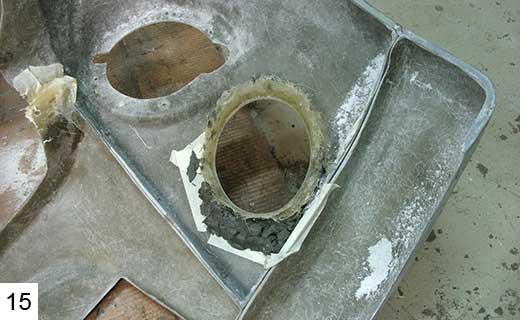 Обработка отверстия для подфарника изнутри